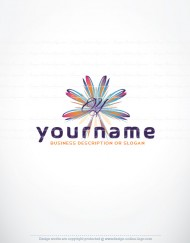 Ready Made online Alphabet Logo design with colorful flower and your Initial