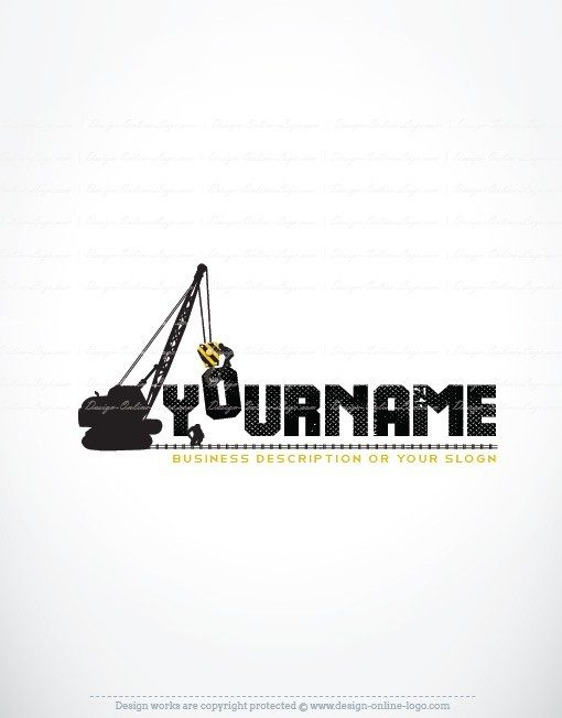Construction Real Estate Logo Design with symbol of crane