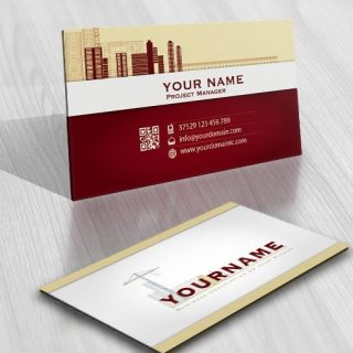 Pencil Construction Buildings Logo FREE Business Card