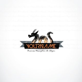 Ready made logo design with fire Dragon
