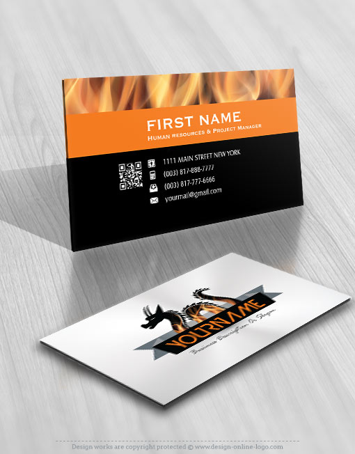 exclusive design fire dragon logo compatible free business card