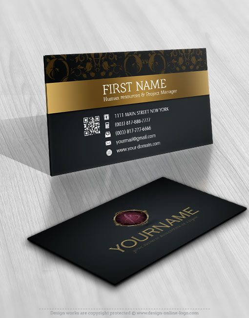 Golden Initials Logo design for sale Business Card