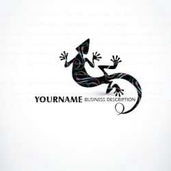 Logo design with Colorful Lizard