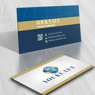 3d globe arrows logo design business card