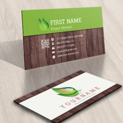 business card Logo design woman face in a green leaf