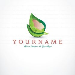 Ready made Logo design with the symbol of a Female woman face in a green leaf