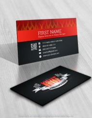 Logo design flame racing sport flag business cards