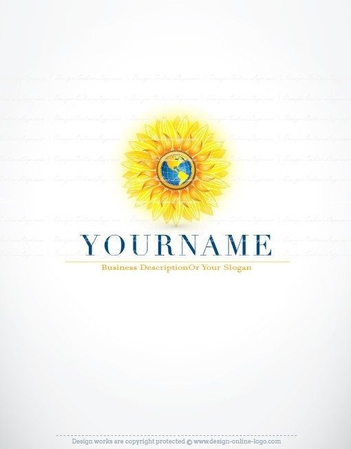 sun flower globe logo design for sale