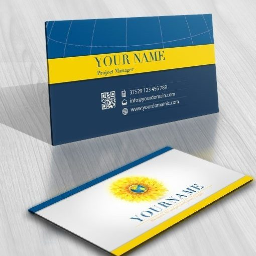 exclusive design  sun flower energy logo   free business card