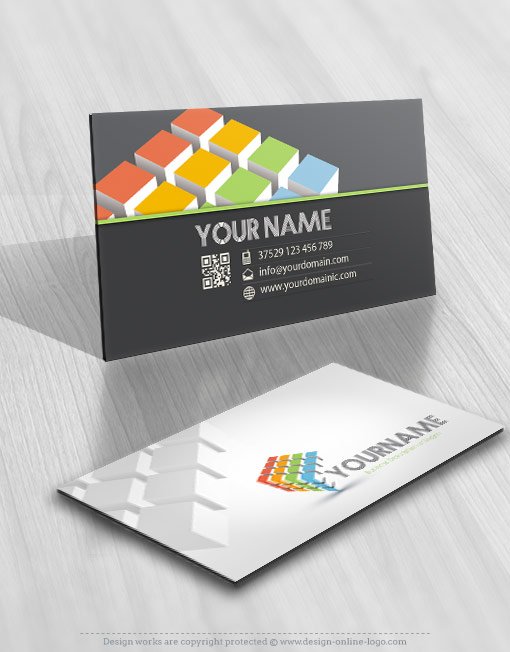 Online 3d cubs Logo design business card