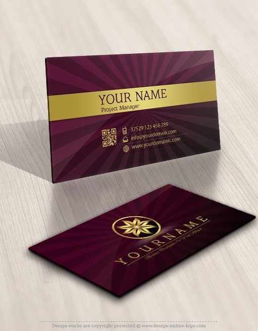 Gold flower logo biz cards