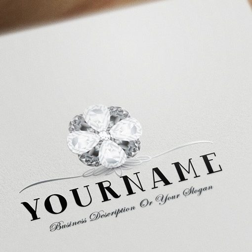 Premium Diamonds flower logo design for sale