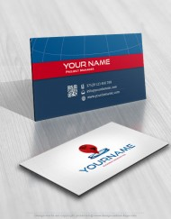 Globe and Gps check logo template biz card
