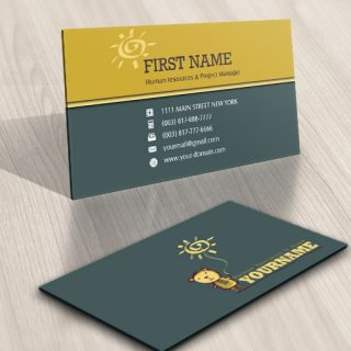 Teddy bear Sun Logo biz card