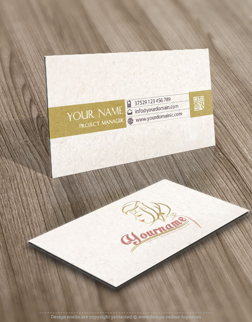 Woman Face Logo card design