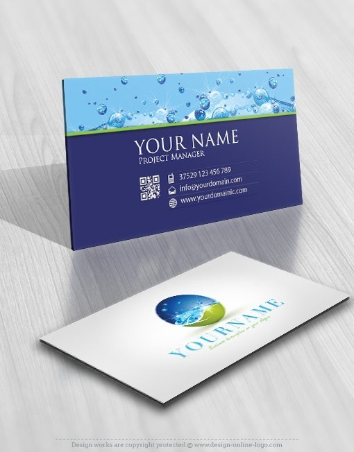 Eco water drops Logo card