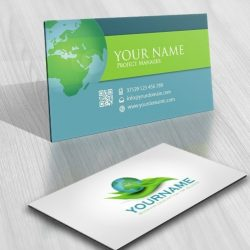 Eco Globe leaf logo card design