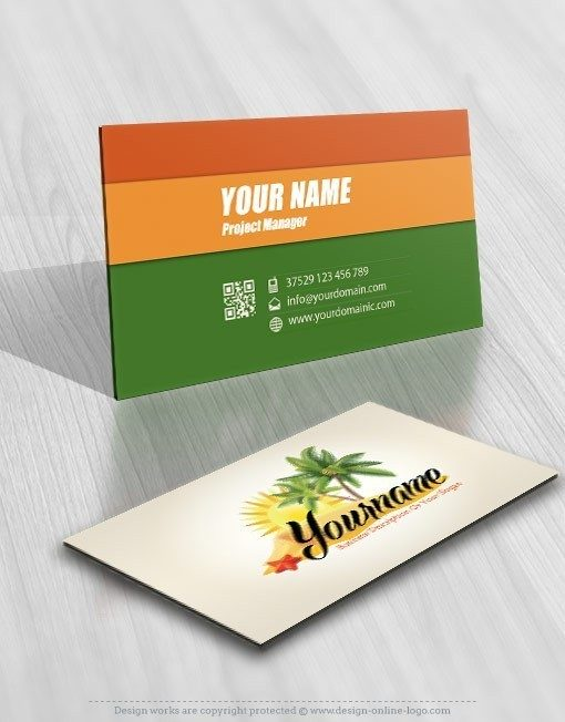 Beach vacation Logo card design