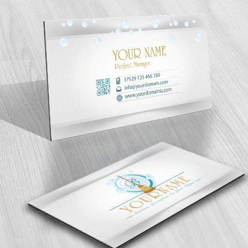 holding cleaning company card design logos