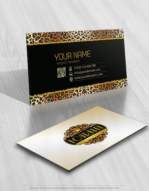 Tiger skin Logo card Design for sale