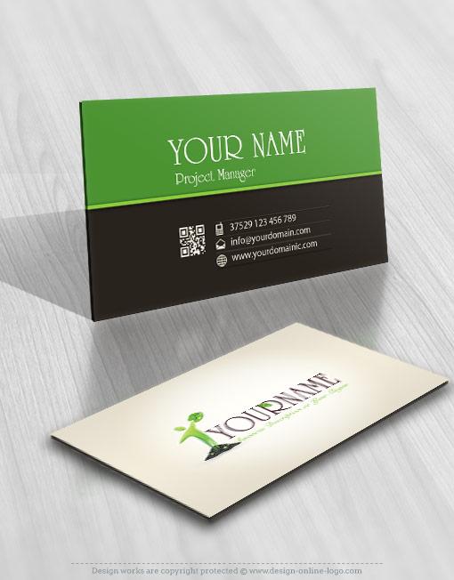 Growth Eco man Logo card design
