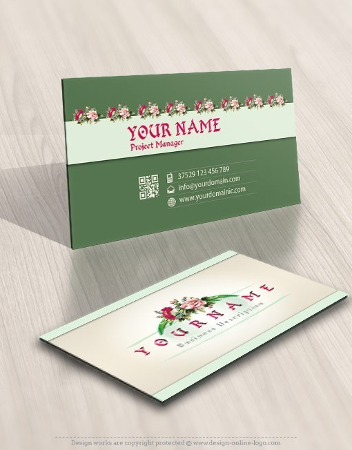 Bamboo flowers logo card design