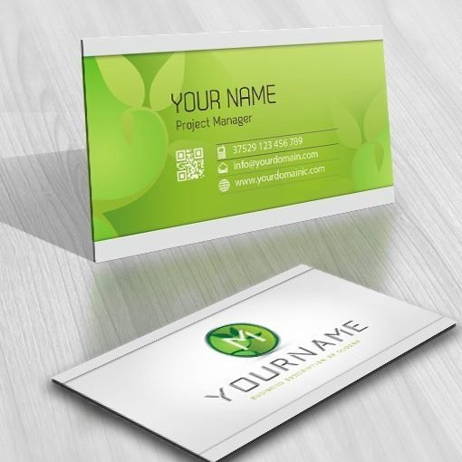 Alphabet Green eco leaf Logo card design