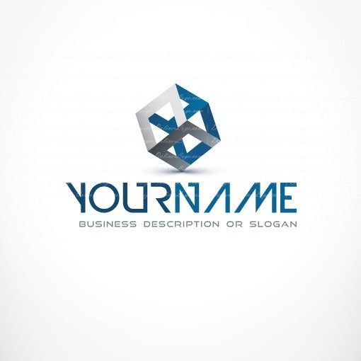 Exclusive Design 3d Blue Cube Logo Free Business Card