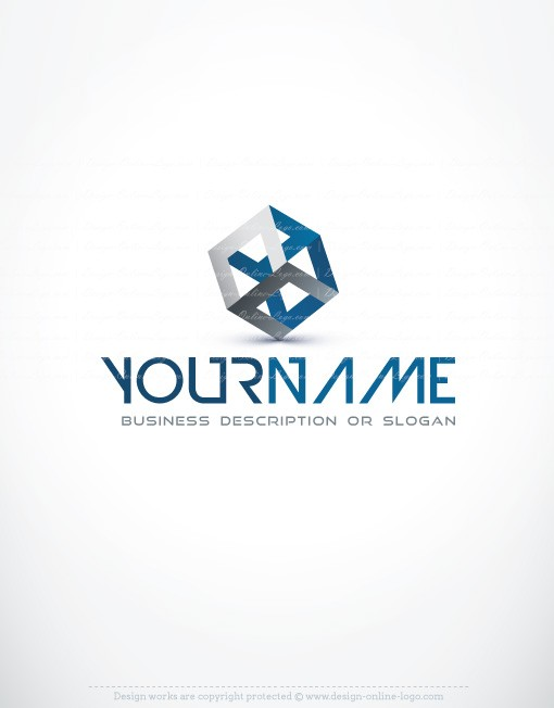 Exclusive design 3d blue cube logo free business card for Logo design online free 3d