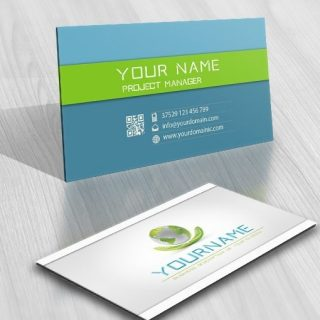 Eco Globe hands card logo design