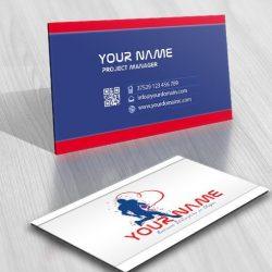 american football logo card adesign