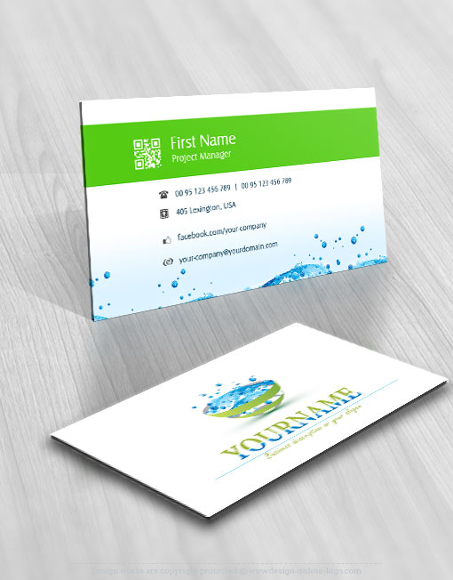 ecological water drops Logo card design online