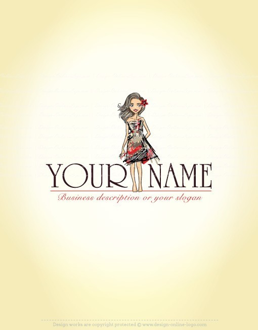 Exclusive Design: Girl Fashion Logo + Compatible FREE Business Card
