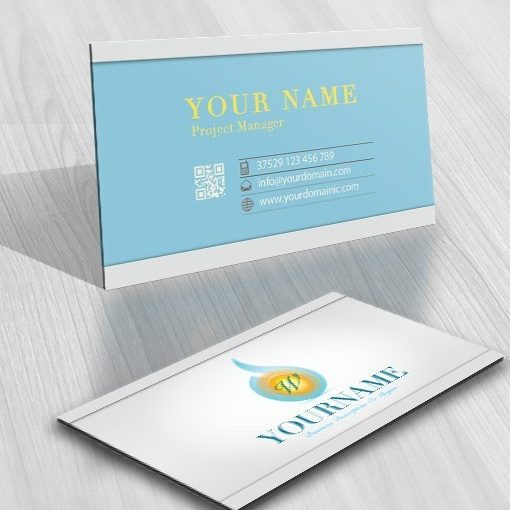 Initials Water Sun light logo online business-card-design