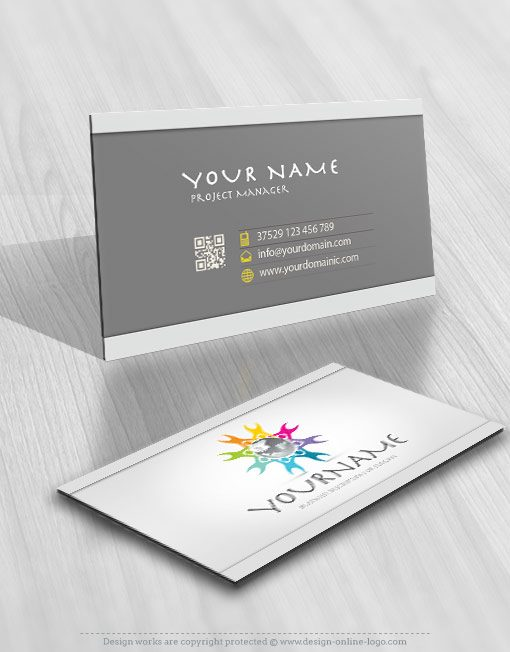 Globe people logo template free card design