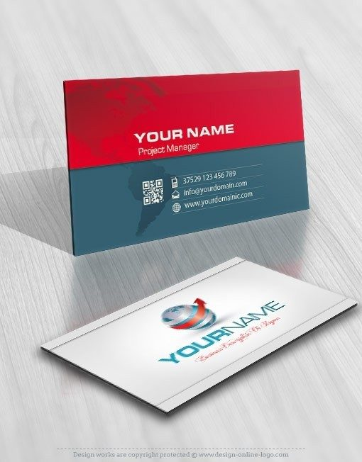 Ready made online 3D Globe and arrow Logo free card design