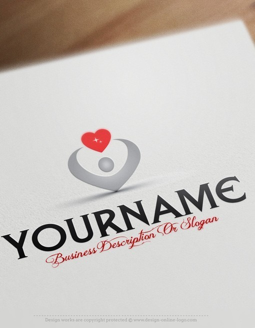 Man holding heart Logo FREE Business Card