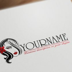 Sexy Woman Hair Makeup Logo template