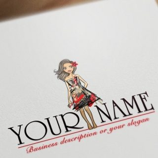 Girl Fashion Logo template free card design