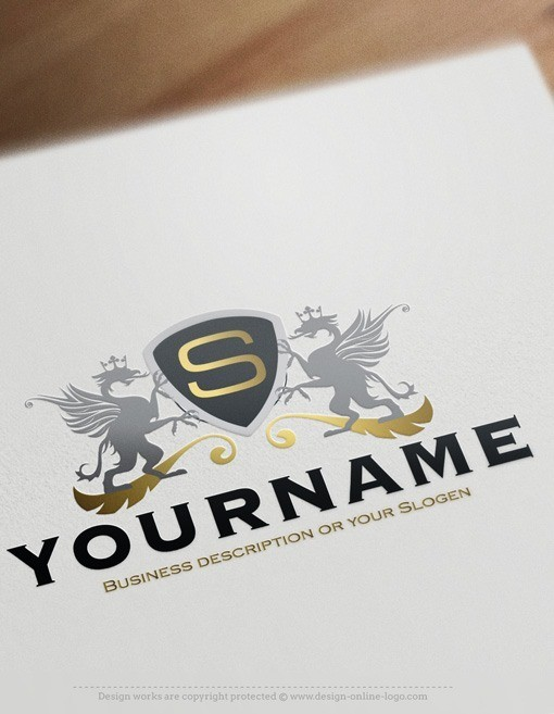 Crest eagle Initials Logo template
