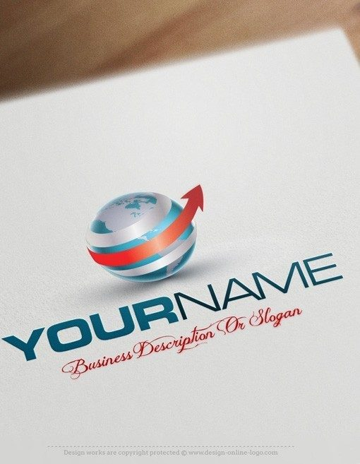 Ready made online 3D Globe and arrow Logo design