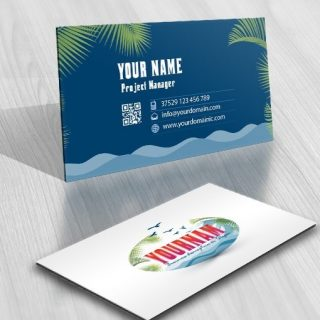 Online Beach Summer Logo free card design