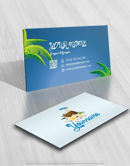 Design coconut cocktail bar logo free business card exclusive design coconut cocktail bar logo free business card reheart Image collections