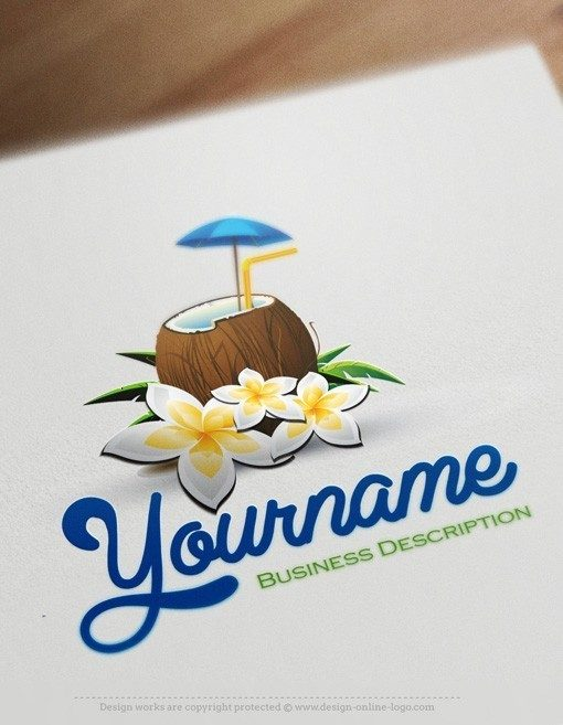 Coconut Cocktail Bar Logo FREE Card design