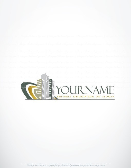 Online Buildings Real Estate Logo + FREE Business Card