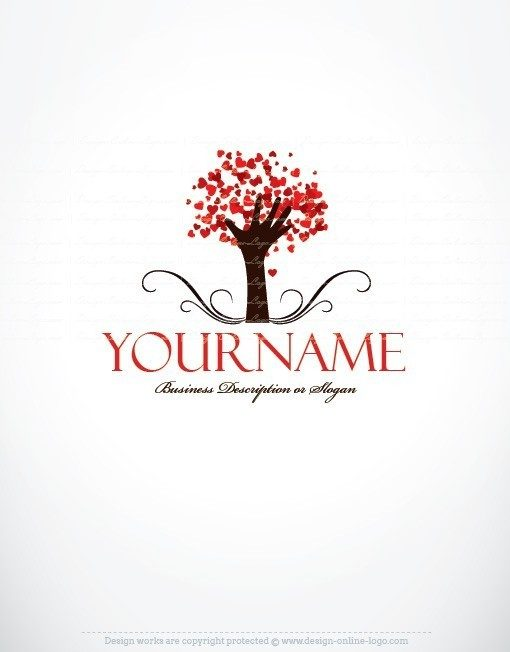 Tree of Hearts Logo template + FREE Business Card