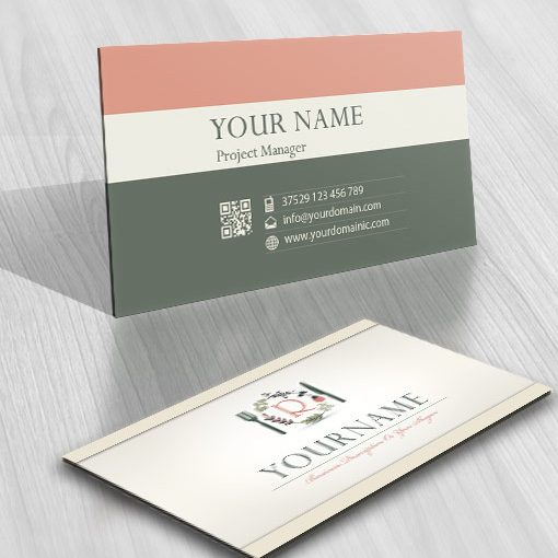 Natural gourmet Vegetarian Logo free card design