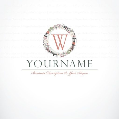 Alphabet Vintage Flowers Logo Free Business Card