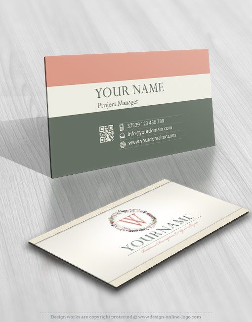 online vintage initials flowers logo + FREE Business Card
