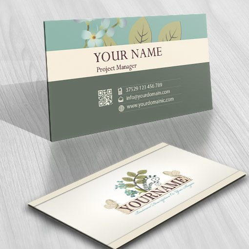 buy vintage garden logo free business card - Garden Design Business Cards
